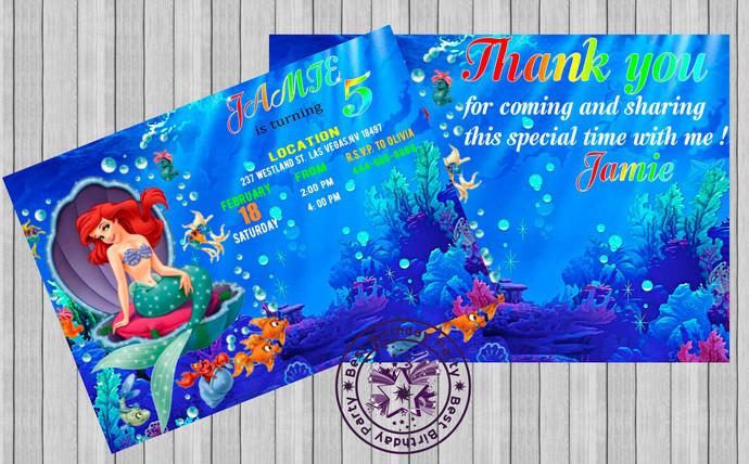 Little Mermaid Invitation Little Mermaid Birthday Invitation Little Mermaid Party Invitations With Free Thank You Card Little Mermaid