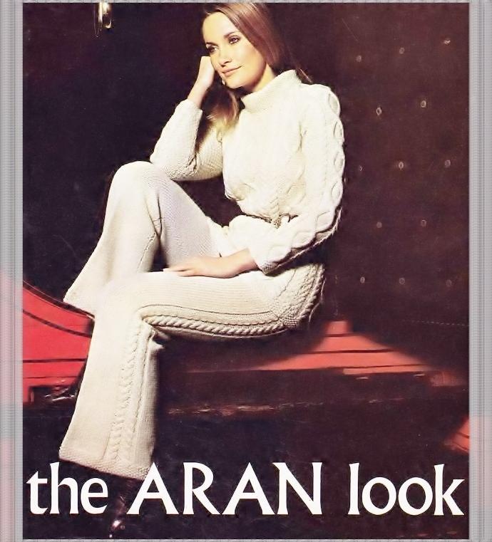Vintage Knitting Pattern to make an Ladies Mod Flared Aran Trouser or Pant Suit