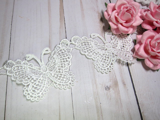 6pc Embroidered Butterfly  Venice Lace Applique
