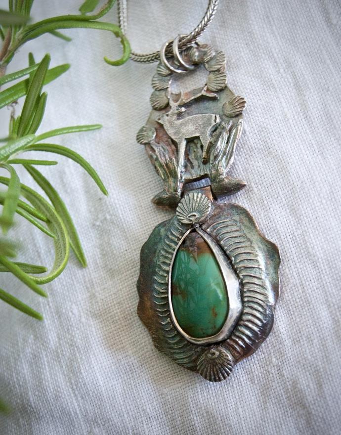 Turquoise necklace, deer spirit animal, talisman necklace, totem, OOAK Hubei,