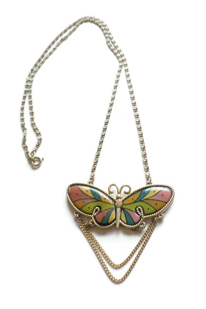 Vintage Butterfly Pendant Necklace