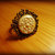 Golden Floral Impression Clay Ring ~ Antique Brass Adjustable Ring ~ One of a
