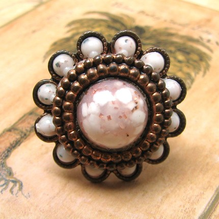 Upcycled Copper White Flower Ring