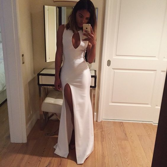 Sexy Slit Prom Dress, High Neck Prom Dress, Sheath Prom Dress, Wedding Guest