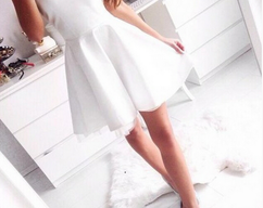 08d5af648b9 Simple Style Women Pure White Sweetheart Chiffon Short Homecoming Dress