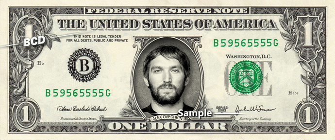 ALEX OVECHKIN Washington Capitals on a REAL Dollar Bill Hockey NHL Cash Money