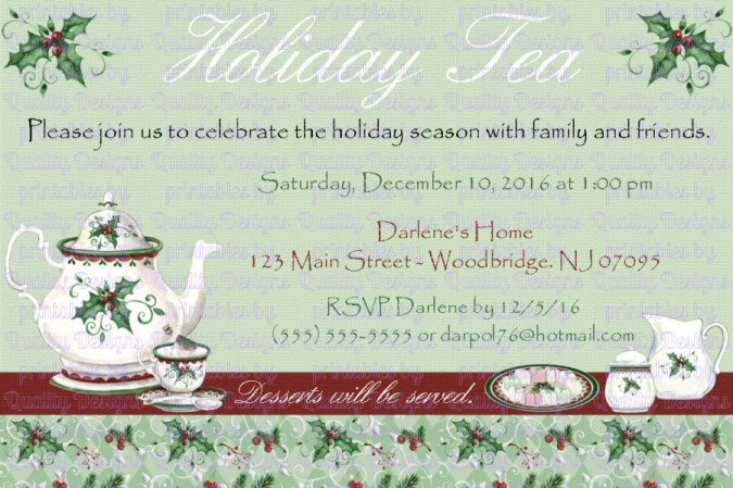 Tea, Winter, Christmas, Printable Invitation, DIY