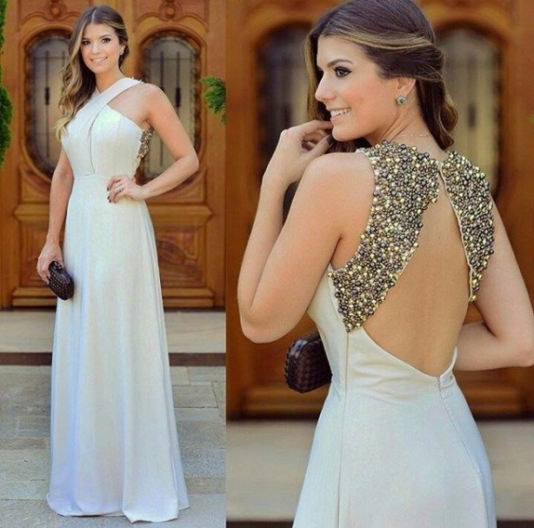 Long Zipper Chiffon Beadings by prom dresses