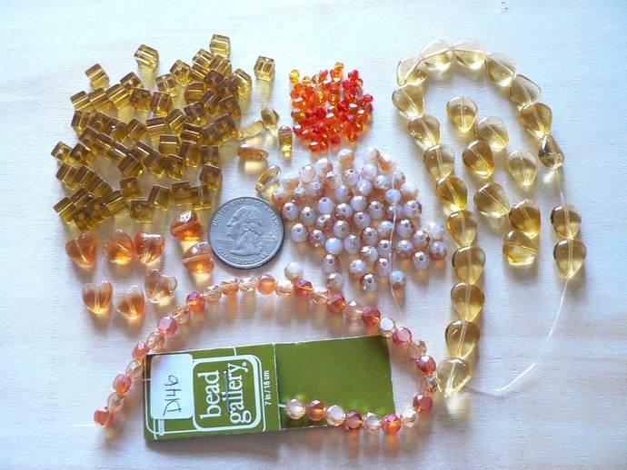 Gold Yellow Orange Glass Bead Lot