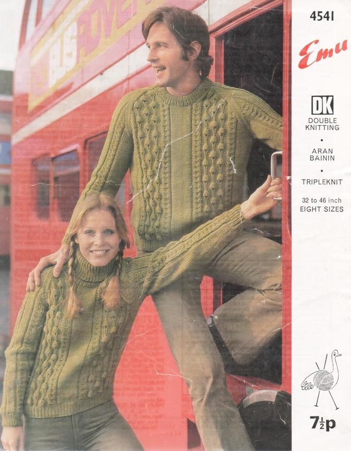 Instant PDF Digital Download Ladies Women's Man's Men's  Aran Cable Sweater