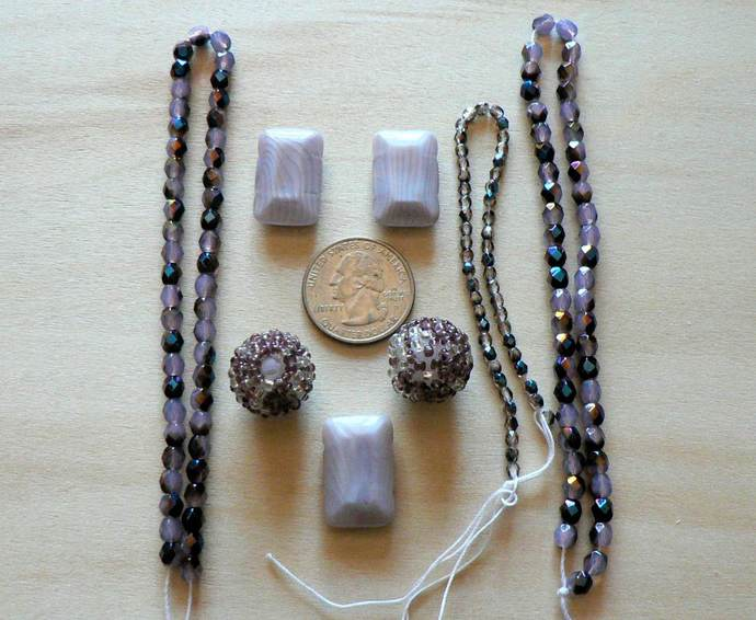 Purple Lavender Glass Beads Lot