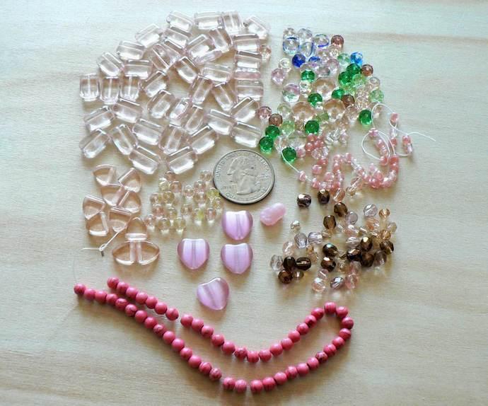 Pink Glass Beads Mixed Lot
