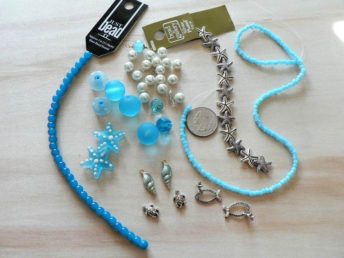 Blue Glass Beads Metal Beads Turtles Starfish Shell Charms Beach Mix