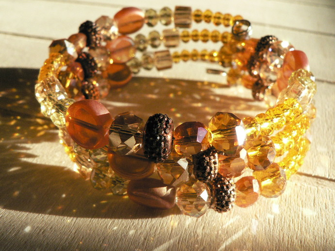 Golden Orange Copper Beaded Memory Wire Wrap Bracelet