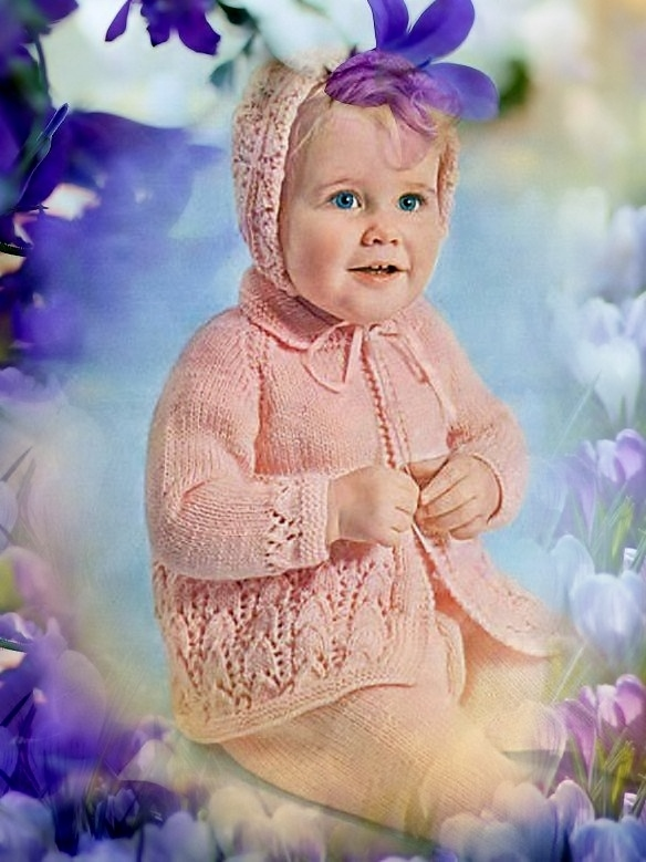 Instant PDF Digital Download Vintage Row by Row Knitting Pattern Babys Pretty