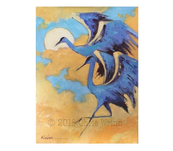 Heron seabird Painting on 11x14 Canvas, Bird Art, Bird Watcher, Bird Watcher