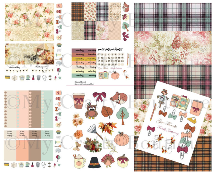 """Give Thanks Digital Planner Kit"" Print and cut Files"