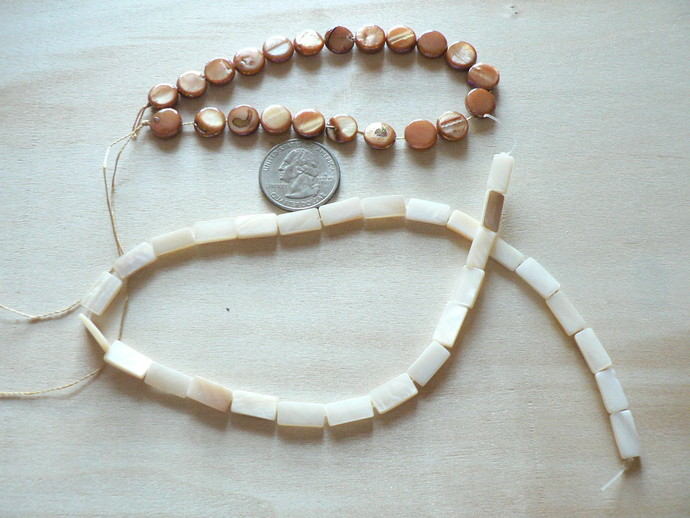 Mother of Pearl Discs Beads Strands
