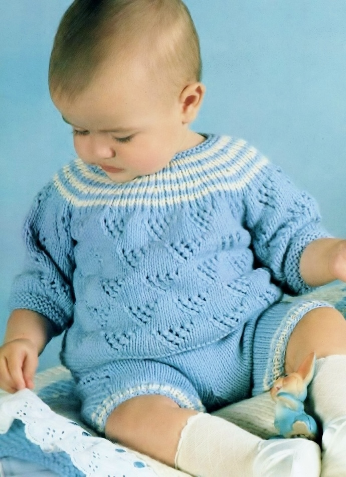 Instant PDF Digital Download Vintage Row by Row Knitting Pattern Baby a Long