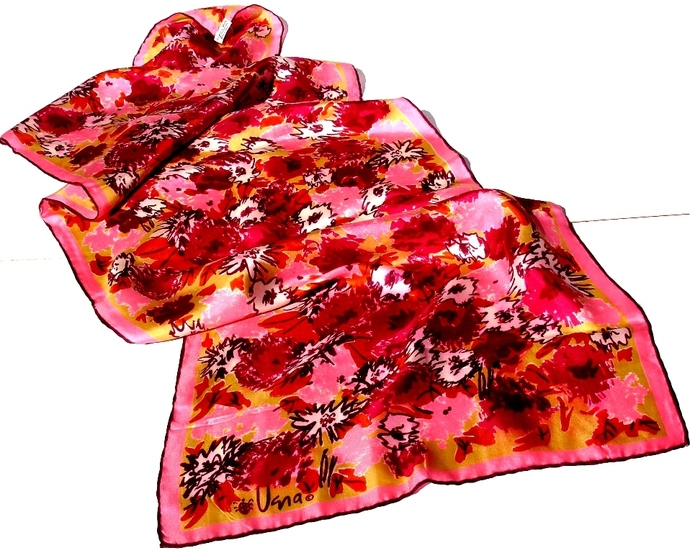 Vera Neumann Floral Scarf In White Pink Burgundy Green And Orange 1960s Lady Bug