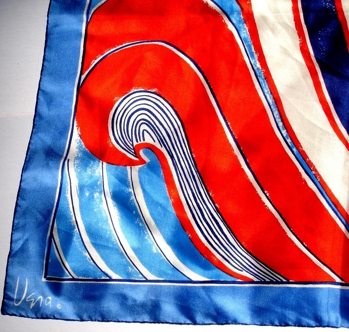 Vera Neumann Mod Rolling Waves Of Red White And Blue Scarf