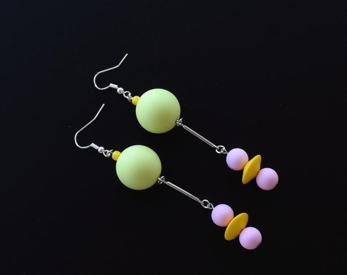 Mod Matte Shape Series Pastel Acrylic Bead Earrings