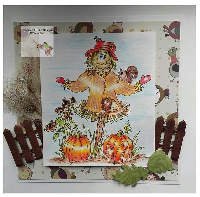 Ms. Scarecrow with Squirrels, stamp, image