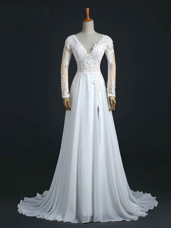 Long Sleeves Wedding Gown, Chiffon and Lace V-neckline Bridal Gown, Prom Dress
