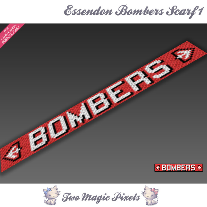 Essendon Bombers Scarf 1 pattern; graph; pdf download; C2C row-by-row counts