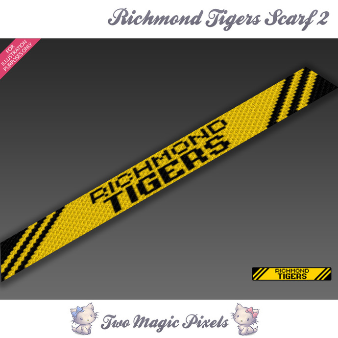 Richmond Tigers Scarf 2 pattern; graph; pdf download; C2C row-by-row counts