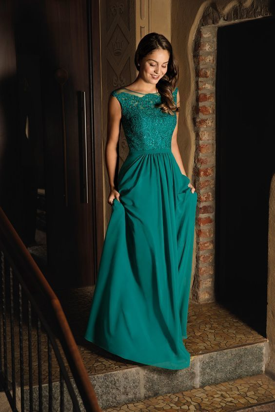 Cap Sleeves Teal Green Long Evening Dress by prom dresses on Zibbet