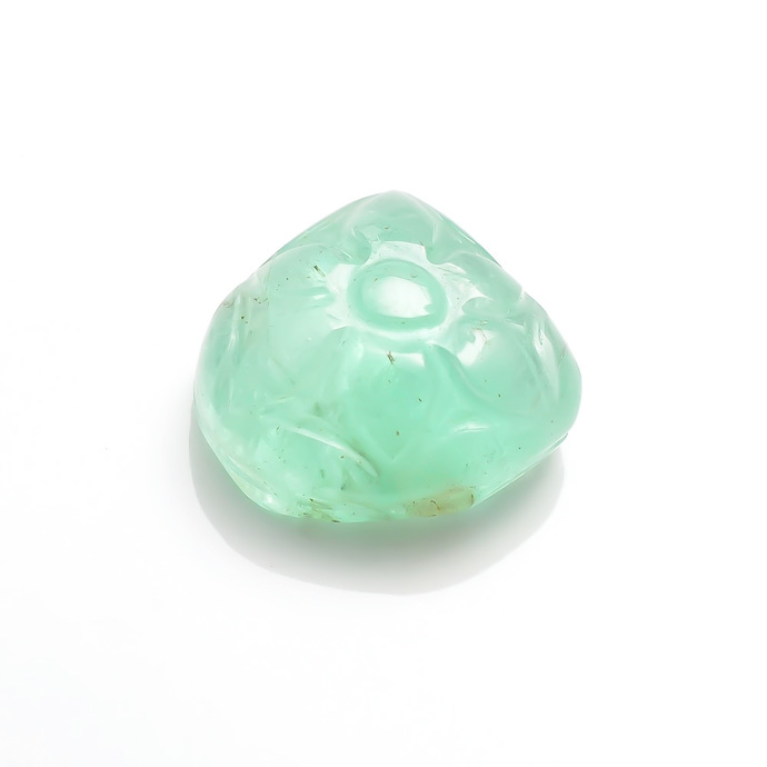 Attractive Emerald Precious Hand Polished Carved Heart Floral Fancy Loose Gem
