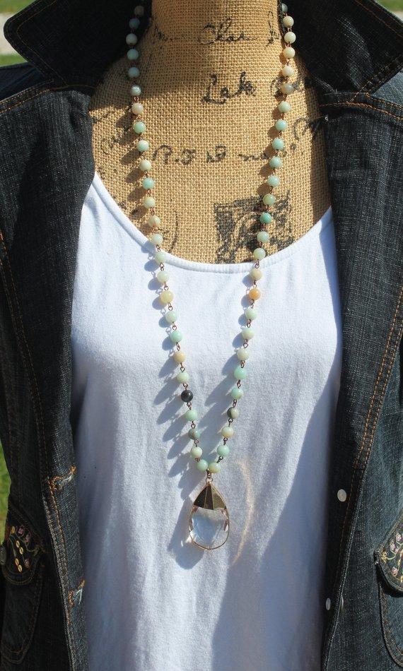 Boho Glam amazonite Long Beaded Necklace with Big Crystal pendant, Layering