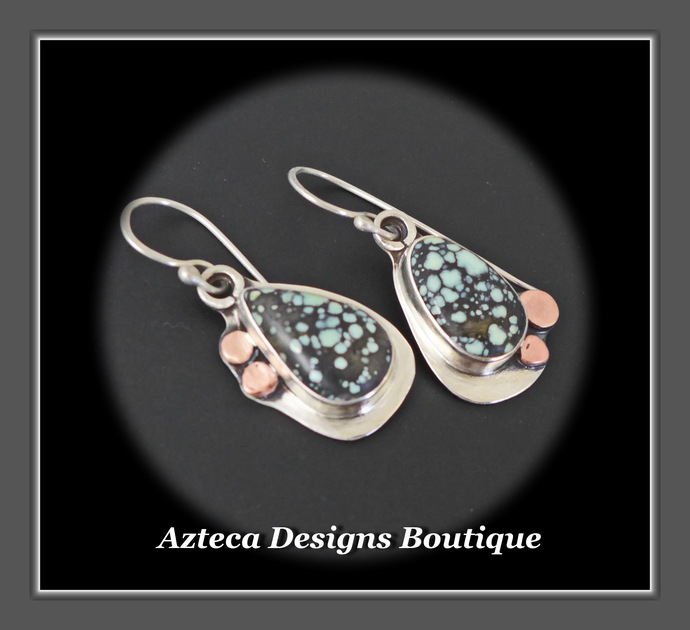 Starfox Variscite Hand Fabricated Argentium Silver + Copper Dangle Earrings