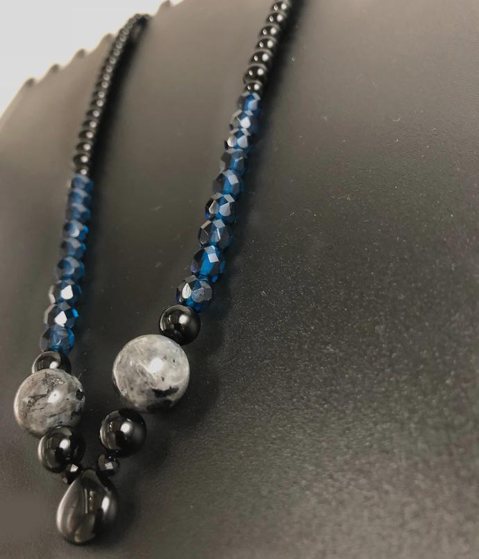 In His Hands | Black Onyx and Dark Aqua Blue Necklace Set