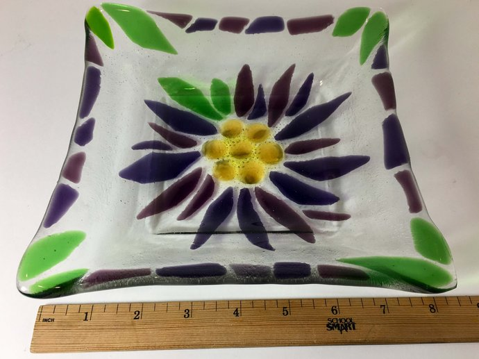 Square Floral Fruit Bowl in Handmade Fused Glass - Purple Flower with Green