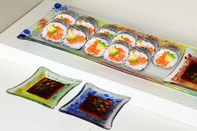 Entertain with Unique Fused Glass Sushi Tray with 3 Sauce Dishes - LGBT Trinket