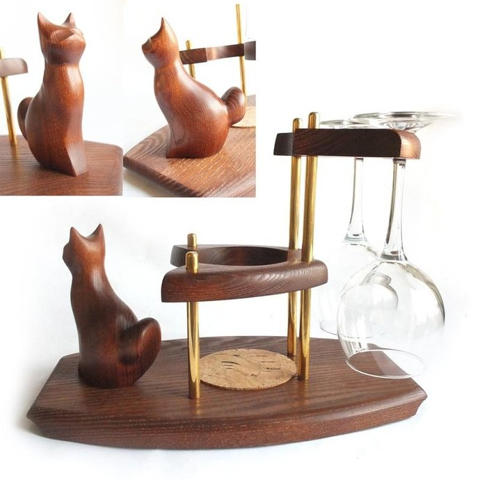 """Exclusive Wooden Mini Bar """"CAT"""" For Wine. Hand Made, Interior Design, Home"""