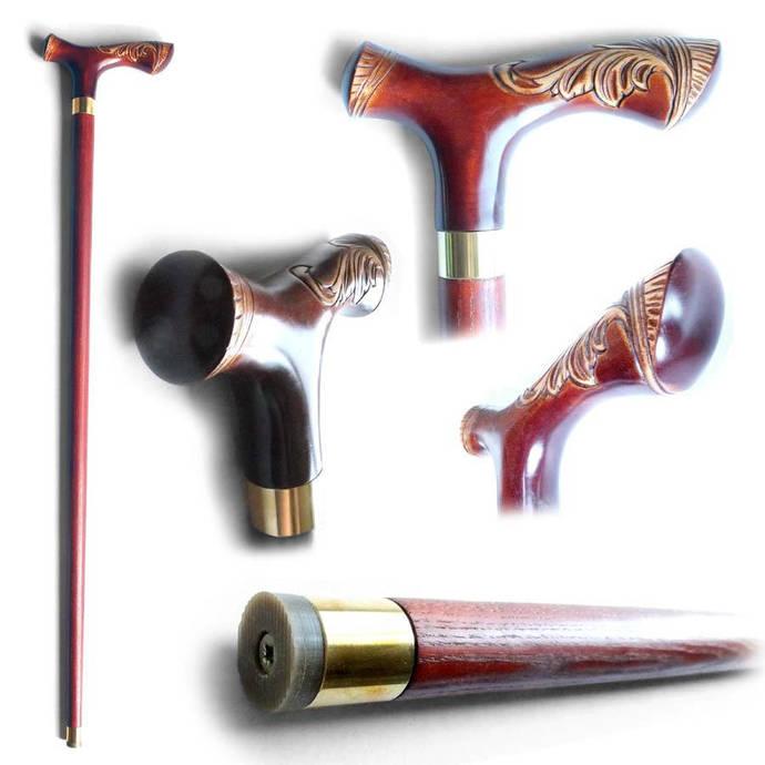 """Wood Cane """"Renaissance"""", Handmade Wooden Stick"""