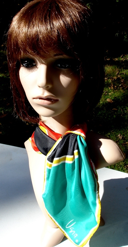 Vera Neumann Red Black Gold Green And White Bold Mod Geometric Scarf