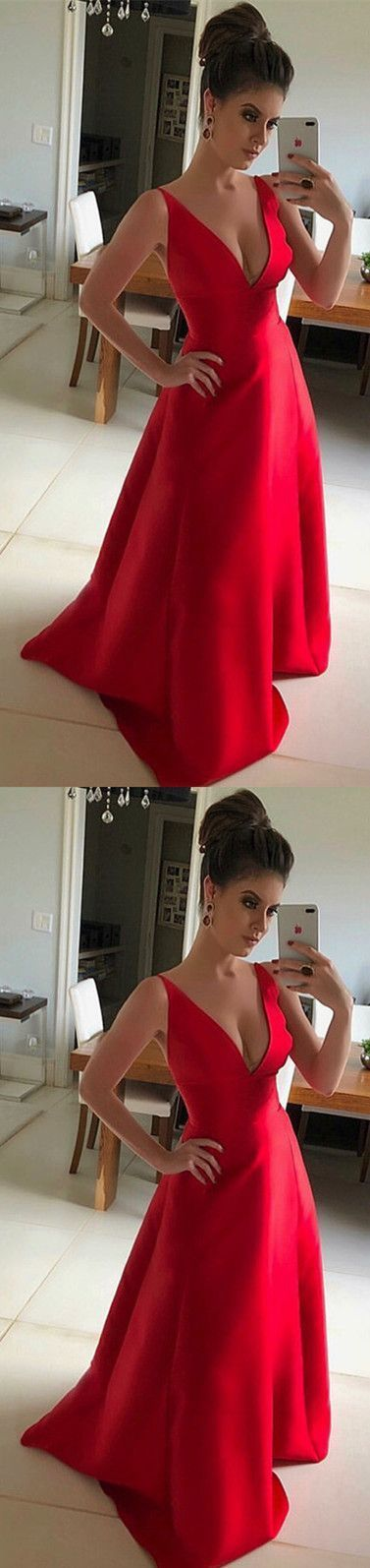 Long Red Satin V-neck Bridesmaid Dresses Floor Length Evening Gowns