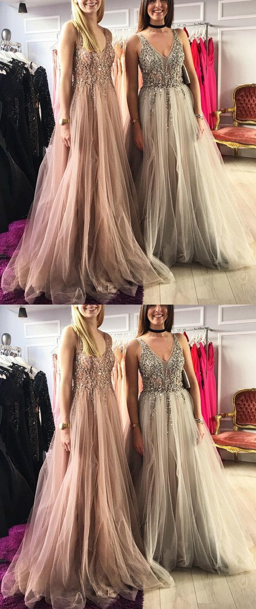 Champagne And Silver Tulle Evening Dresses Long Backless Formal Gowns Glitter