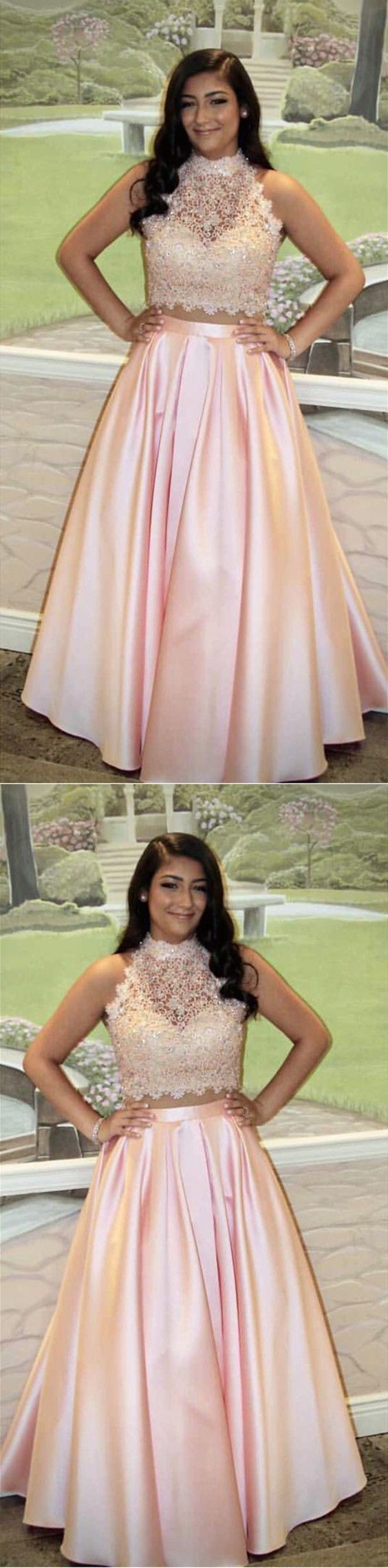Pretty Pink Lace Crop Top Floor Length Satin Prom Dresses Two Piece Ball Gowns