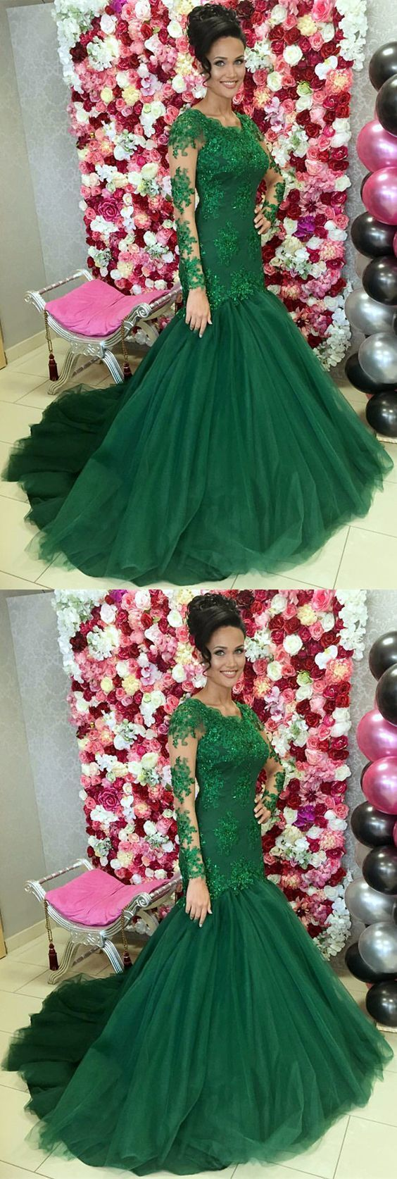 Dark Green Lace Long Sleeves Mermaid Prom Dresses Appliques Evening Gowns