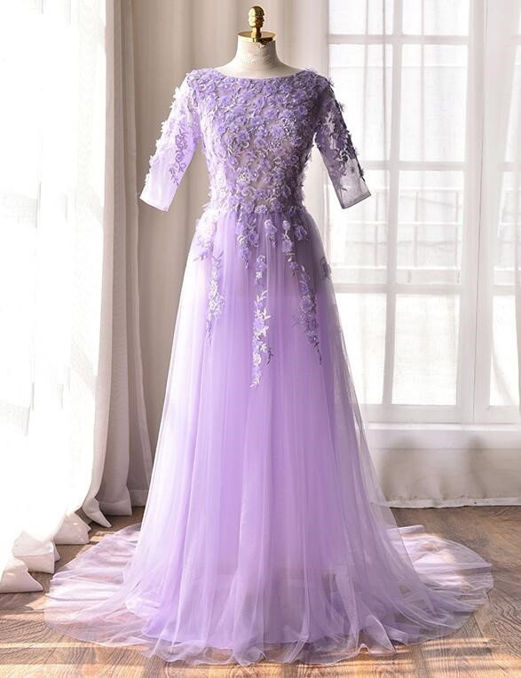 Lavender Short Sleeves Tulle and Applique Elegant Formal Dress, Junior Prom