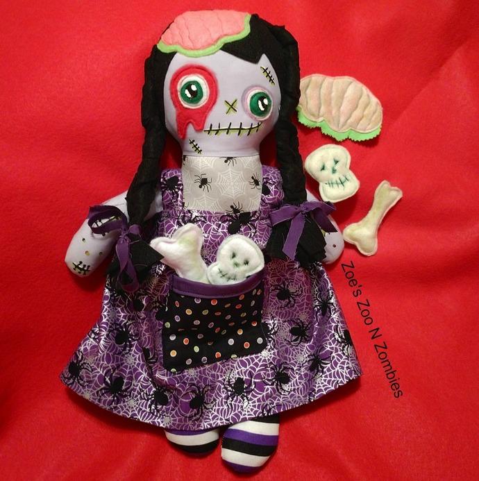 Zombie Girl Dress Up Cloth Doll Handmade Handpainted Gothic Child