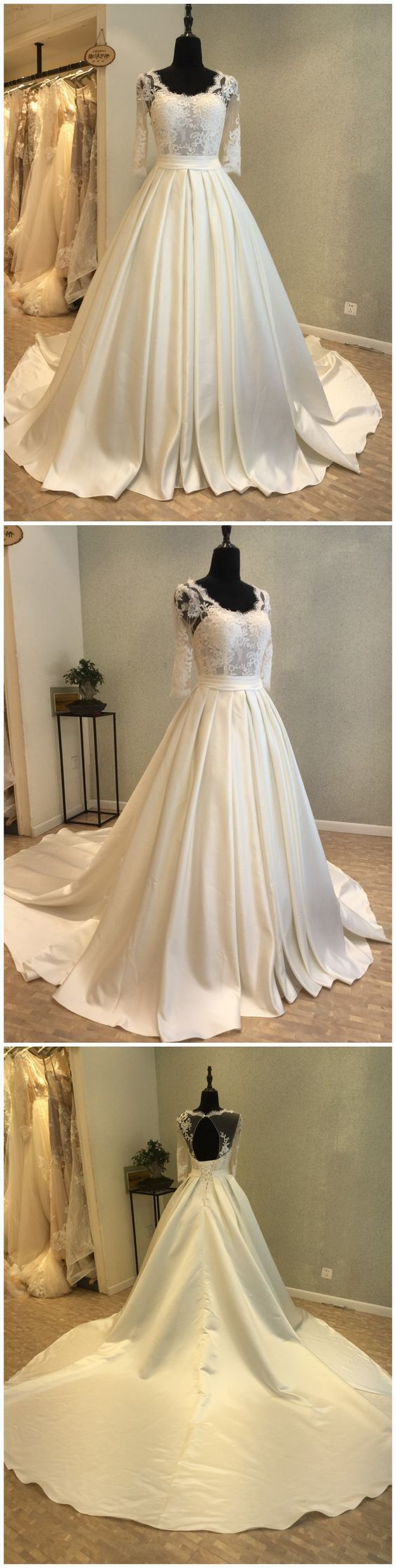Short Sleeves Satin and Lace Long Prom Gown, Lovely Party Dress 2019, Wedding