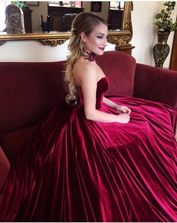 Burgundy Velvet Sweetheart Prom Gowns, Bodice Corset Ball Gowns,Wedding Dresses