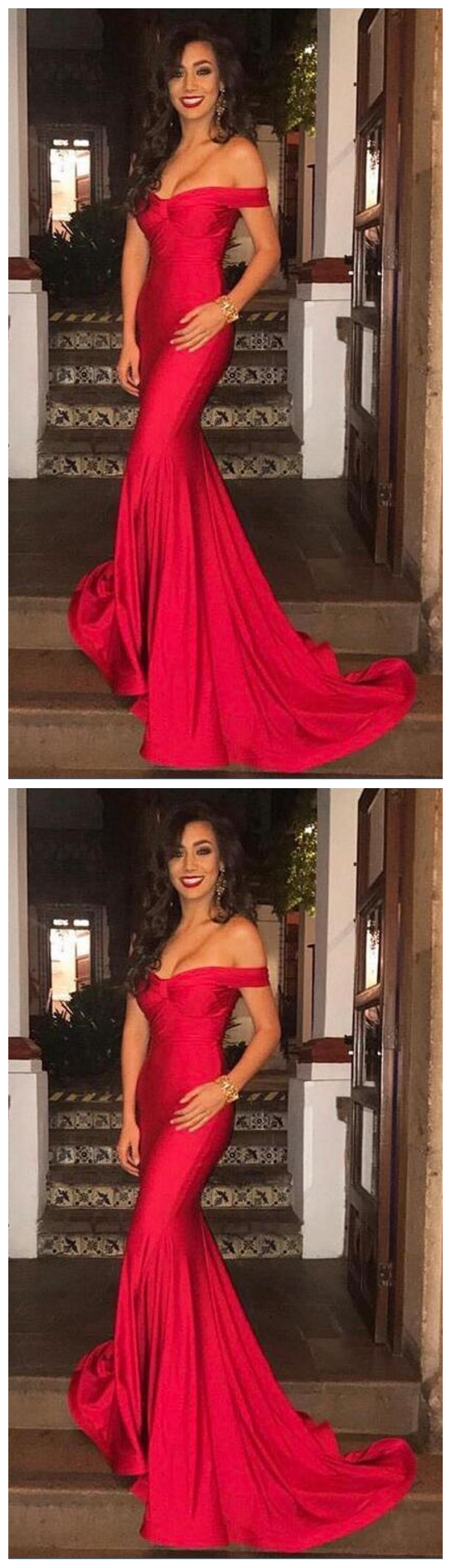 Shoulder Prom Dress,Cheap Prom Dress,Gorgeous Prom Dress,Sexy Red Mermaid Long