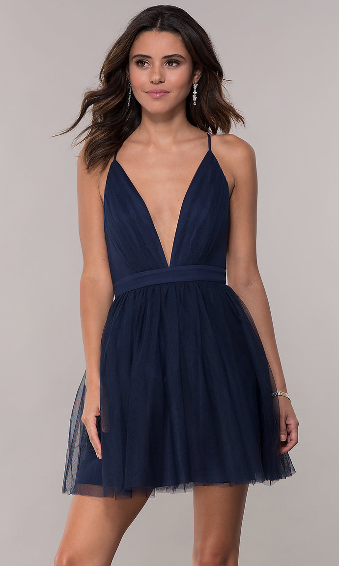 Deep-V-Neck Pleated-Bodice Homecoming Dress